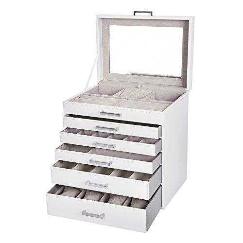 d6e43481a002 SONGMICS Gabinete joyero Cajonera para bisuterías Relojes cosméticos 6  Niveles 30