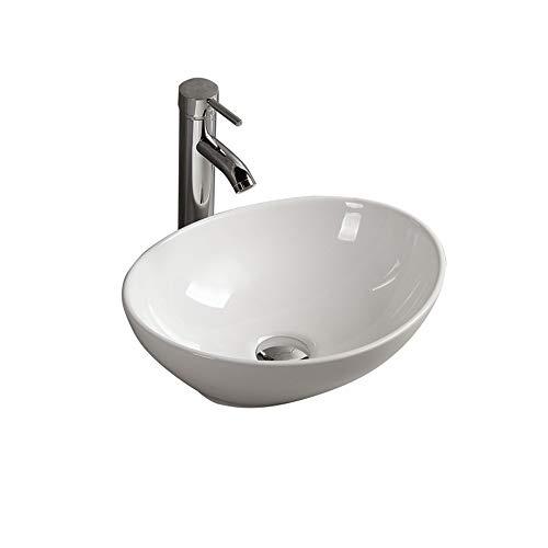 8855061a5863 Gimify Lavabos Sobre Encimera Cerámica sin Desbordamiento para el Baño  (33*40*14.5